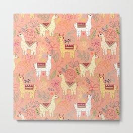 Mexican Llamas on Coral Metal Print