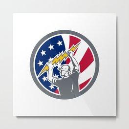 American Electrician USA Flag Icon Metal Print
