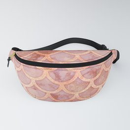 Pink Gold Marble Mermaid Scales Fanny Pack