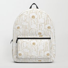 Poppies Field, Floral Handmade Pattern, White and Gold Texture Backpack