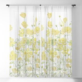 yellow buttercup flowers filed watercolor  Sheer Curtain