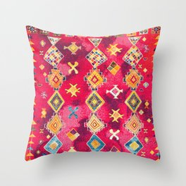 N188 - Lovely Pink Oriental Traditional Boho Moroccan Style Artwork Throw Pillow