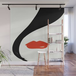 Retro Fashion Model with Stylish Hair and Red Lipstick Wall Mural
