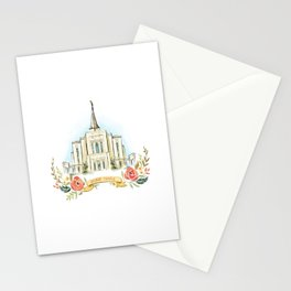 Gilbert Arizona LDS watercolor Temple with flower wreath  Stationery Cards
