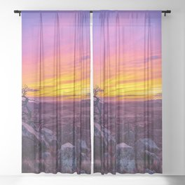 Hope and Heart - Scenic Sunset at Summit of Mount Scott in Oklahoma Sheer Curtain