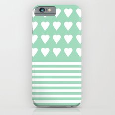 Heart Stripes Mint iPhone 6s Slim Case