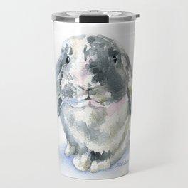Gray and White Lop Rabbit Travel Mug