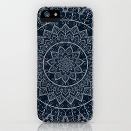 Blue Textured Lace Mandala iPhone Case