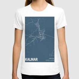 Kalmar Blueprint Street Map, Kalmar Colour Map Prints T-shirt