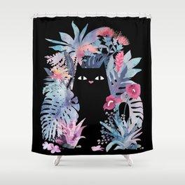 Popoki (Pastel Black Velvet) Shower Curtain