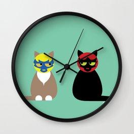 Gatos Luchadores Wall Clock