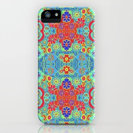Boho Hippie Garden Floral Pattern - Turquoise Summer iPhone Case