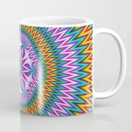 Floral Motif in Chevron Rings Coffee Mug