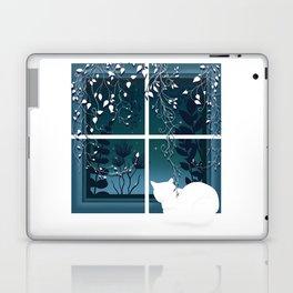 White Kitty Cat Window Watcher Laptop & iPad Skin
