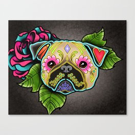 Pug in Fawn - Day of the Dead Sugar Skull Dog Canvas Print