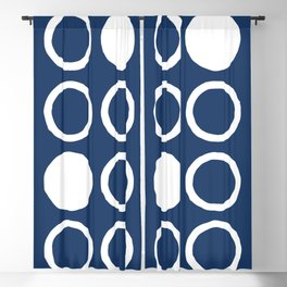 Mid Century Modern Circle and Dot Pattern 240 Navy Blue Blackout Curtain