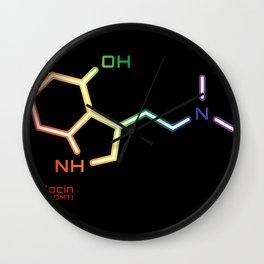 Psilocin Molecule - rainbow design Wall Clock