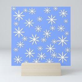 Snowflakes on Blue Mini Art Print