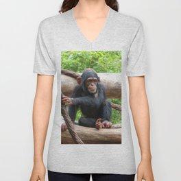 Chimpanzee_20150503_by_JAMFoto Unisex V-Neck