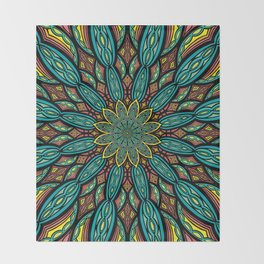 Stained Glass Mandala  Throw Blanket