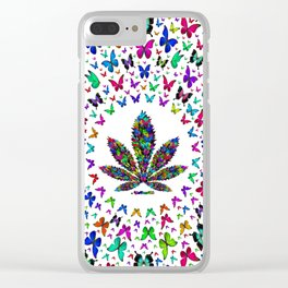 Butterflies Cannabis Leaf 3 Clear iPhone Case