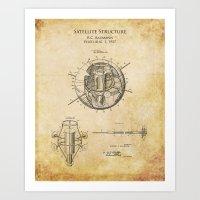 1950s Design for a Satellite Structure patent print Art Print