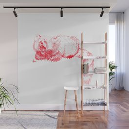 Red Panda Yawning Wall Mural