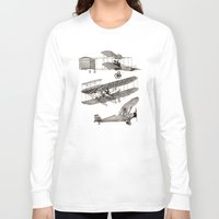 airplanes Long Sleeve T-shirts featuring airplanes 3 by Кaterina Кalinich