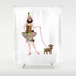 walk the walk puppydog and me Shower Curtain