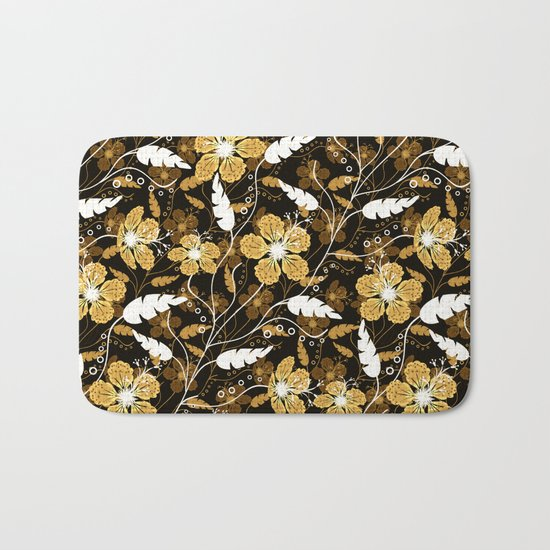 Abstract,floral pattern. Golden flowers on a black background. Bath Mat