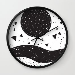 abstraction black moon Wall Clock