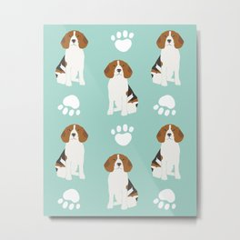 Beagle mint green modern minimal animal pet portrait fur baby beagle owner must haves gifts  Metal Print
