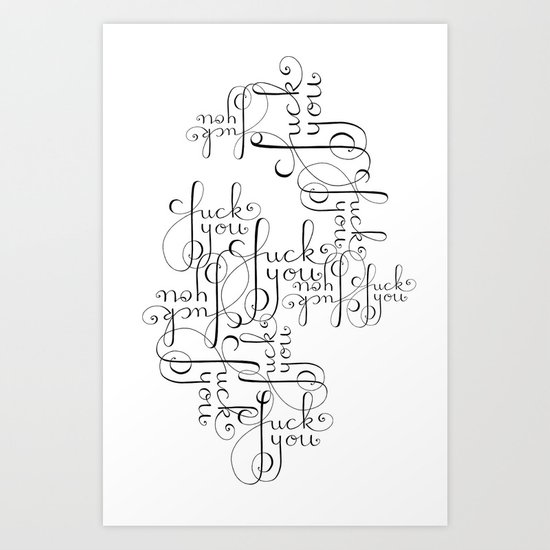 Cursive Cursing Art Print By Lisa Hammar Society6