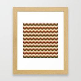 Red Green White and Gold Christmas Wavy Chevron Stripes Framed Art Print