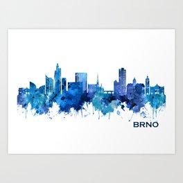 Brno Czech Republic Skyline Blue Art Print