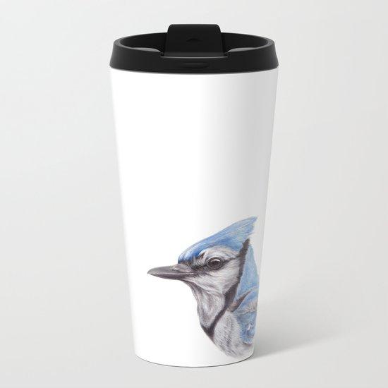 Blue Jay - CYANOCITTA CISTATA By Magda Opoka Metal Travel Mug