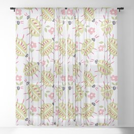 Green Beetles With Wooden Legs Sheer Curtain