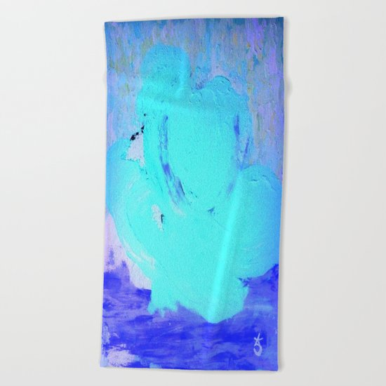 Neon Winter Rose, Abstract In Nature, Ice Blue Beach Towel