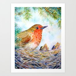 Watercolor Robin and Chicks Art Print