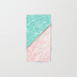 Turquoise teal pink rose gold geometrical marble Hand & Bath Towel