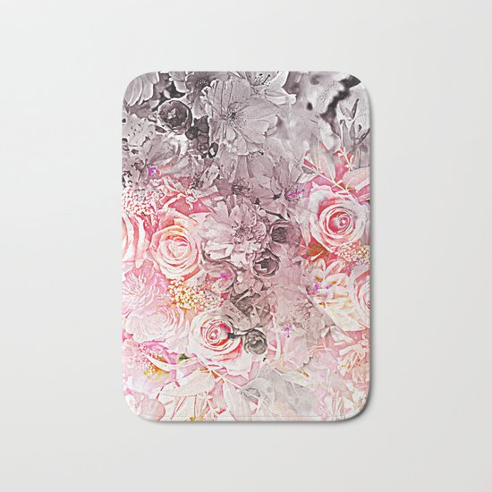 Floral in pinks and taupe Bath Mat