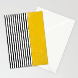 Mid century modern yellow black lines Stationery Cards