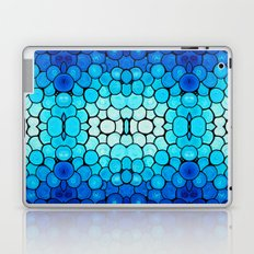 Winter Lights - Blue and White Abstract Mosaic Art By Sharon Cummings Laptop & iPad Skin