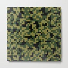 Digital Green Camouflage Pattern Metal Print
