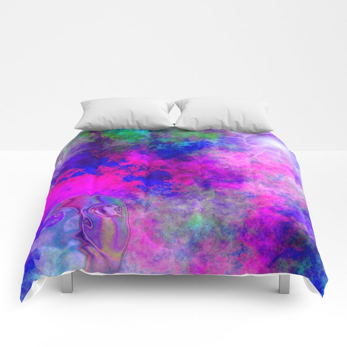 Abstract Space Face 3 Comforters