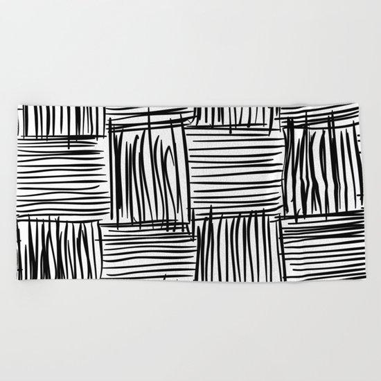 Modern Square Black on White Beach Towel