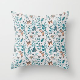 Insects and Moths Frolicking in the Day Throw Pillow