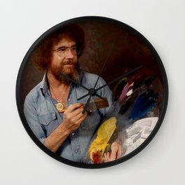 Bob Ross Portrait (digital portrait) Wall Clock
