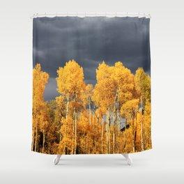 Golden Aspens and an Impending Storm Shower Curtain