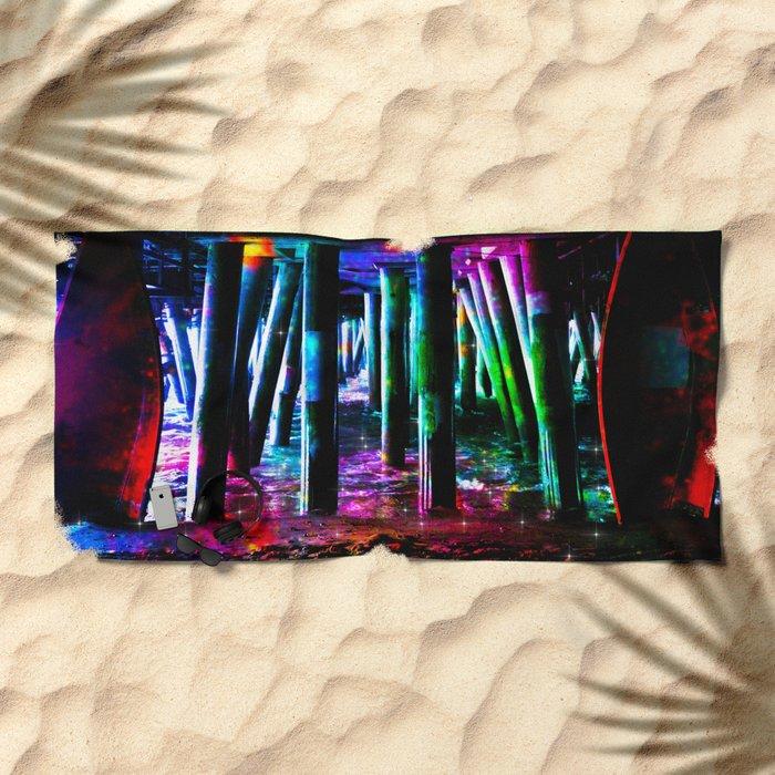 colorful pier Beach Towel